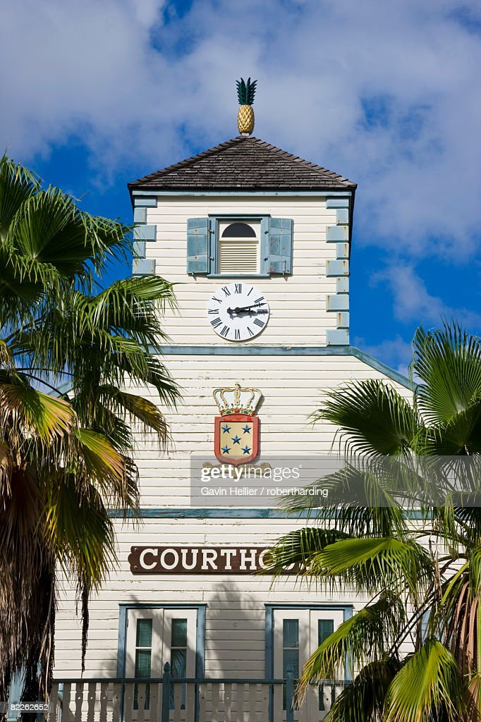 The Courthouse in the Dutch capital of Philipsburg, St. Maarten, Netherlands Antilles, Leeward Islands, West Indies, Caribbean, Central America : Stock Photo