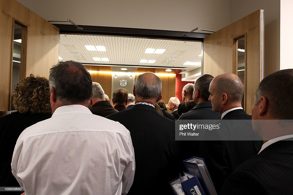 The courtroom overflows for the sentencing of Blue Chip founder Mark Bryers at the Auckland District Court on May 20, 2010 in Auckland, New Zealand. Bryers was today sentenced to 75 hours of community work and a fine of $37,500 plus court costs for 34 convictions for book- and record-keeping failures relating to the failed property investment firm.
