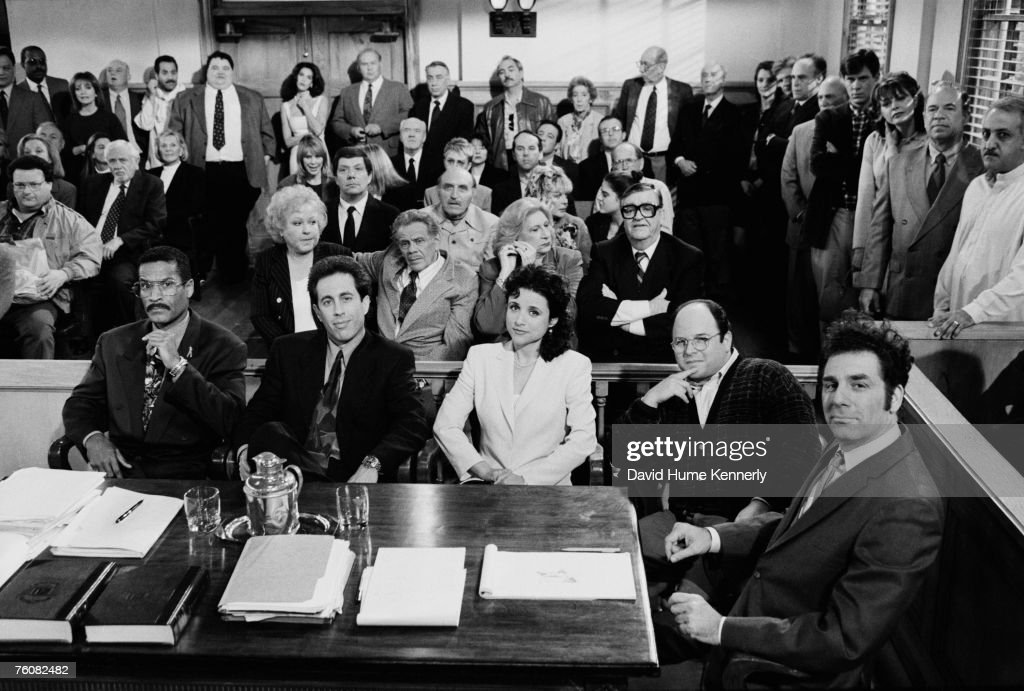 The courtroom scene from the final days of shooting the hit show 'Seinfeld' including (L-R)Phil Morris, Jerry Seinfeld, Julia Louis-Dreyfus, Jason Alexander and Michael Richards, April 3, 1998 in Studio City, California.