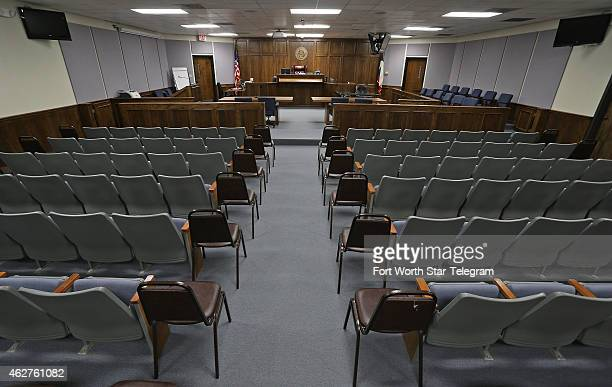 The courtroom where the trail will be held is empty on Feb 4 2015 in Stephenville Texas Jury selection in the capital murder trial of Eddie Routh who...