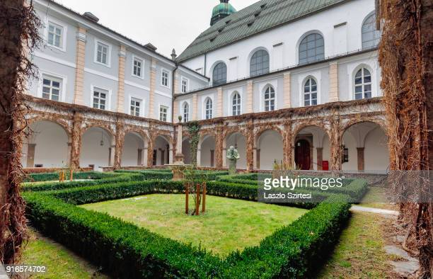 The courtyard is seen at the Court Church on January 28 2018 in Innsbruck Austria