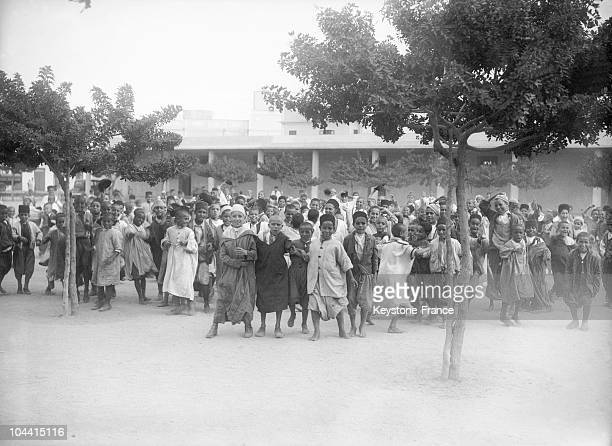 The courtyard of a French school in Casablanca on October 31 1935