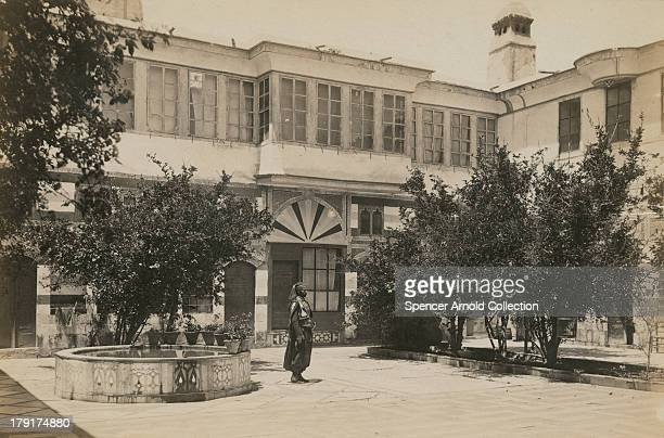 The courtyard of a Jewish house in Damascus Syria circa 1880
