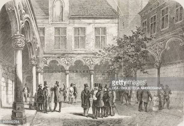 The courtyard of the Antwerp Stock Exchange before the fire of 1858 illustration from the magazine The Illustrated London News volume XXXIII August...
