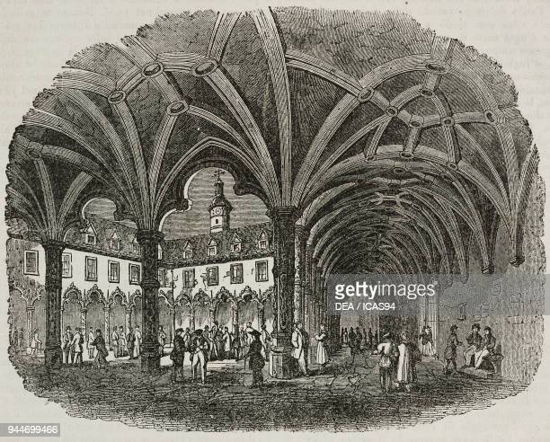 The courtyard of the Antwerp Stock Exchange Belgium illustration from Teatro universale Raccolta enciclopedica e scenografica No 247 March 30 1839