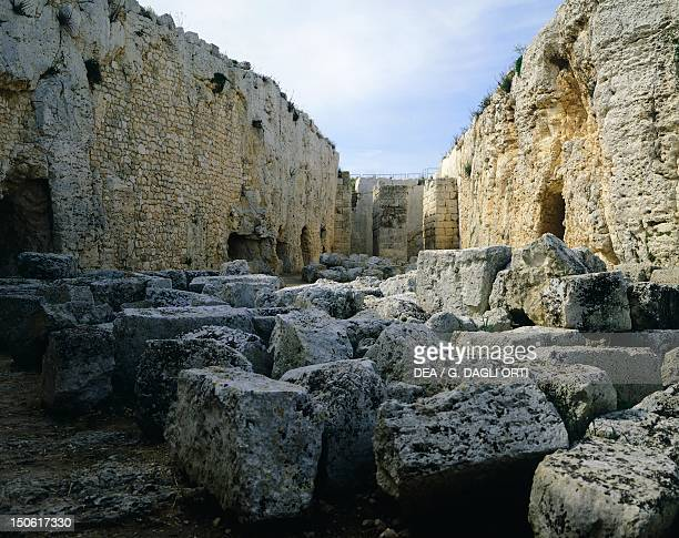 The courtyard of the Euryalus Castle , 402-397 BC, Syracuse, Italy. Ancient Greek civilization, Magna Graecia, 5th-4th Century BC.
