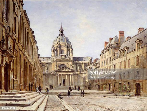 The courtyard of the Old Sorbonne in Paris Painting by Emmanuel Lansyer 1886 Oil on canvas 046 x 061 m Carnavalet Museum Paris