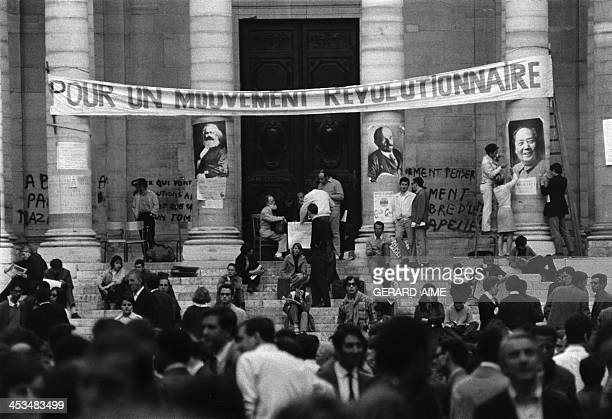 The courtyard of the Sorbonne university is occupied by students in May 1968 in Paris France