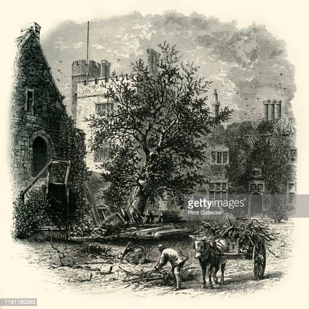 The Courtyard Penshurst' circa 1870 Penshurst Place near Tonbridge Kent ancestral home of the Sidney family birthplace of Elizabethan poet courtier...