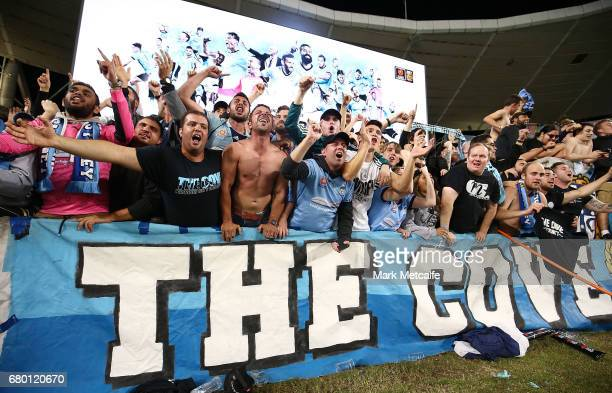 The Cove celebrate winning the 2017 ALeague Grand Final match between Sydney FC and the Melbourne Victory at Allianz Stadium on May 7 2017 in Sydney...