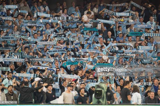 The Cove show their scarfs before the ALeague match between Sydney FC and the Newcastle Jets at Allianz Stadium on April 15 2017 in Sydney Australia