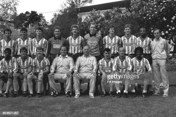 The Coventry City FA Cup Final squad at a hotel near Bournemouth Back Trevor Peake Nick Pickering Steve Sedgley Jake Findlay Brian Kilcline Steve...