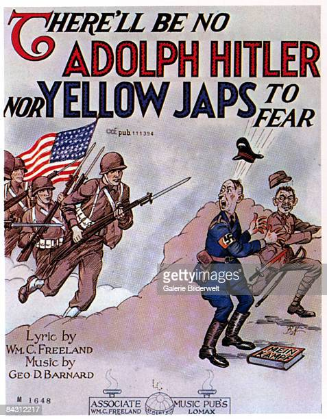 The cover for the sheet music of 'There'll be No Adolph Hitler nor Yellow Japs to Fear' music by George D Barnard and lyrics by William C Freeland...