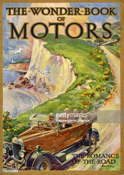 The cover illustration for The Wonder Book of Motors features a scene along the English shore which was published in London England circa 1920
