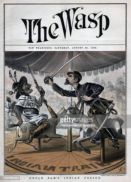 The cover illustration on the political paper The Wasp concerns itself with Native American governmental affairs published on August 29 1884 in San...