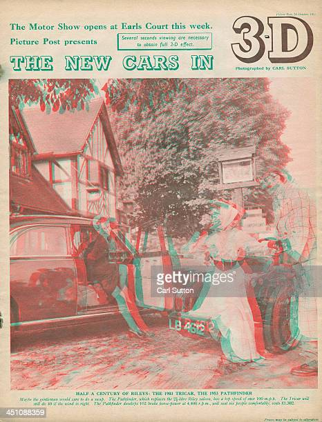 The cover of a 3D supplement issued with Picture Post magazine to mark the forthcoming Motor Show October 1953 The cover features an anaglyph 3D...