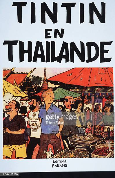 The cover of a fake 'Tintin in Thailand' comic a parody of the adventures of the famous Belgian cartoon reporter