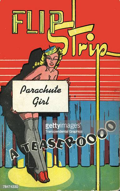 The cover of a novelty erotica flip book here refered to as a 'Flip Strip' titled 'Parachute Girl a Teaseroooo' which features an illustration of a...