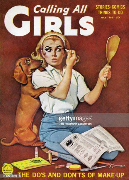 The cover of a paperback book entitled Calling All Girls shows an illustration of a blonde-haired woman putting on makeup in front of a mirror with a...