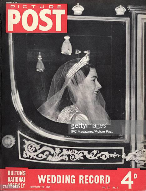 The cover of a special royal wedding edition of Picture Post magazine showing Princess Elizabeth arriving at Westminster Abbey in the Irish State...