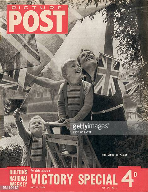 The cover of a Victory Special issue of Picture Post magazine depicting a mother and her two sons celebrating VE Day in Britain at the end of World...