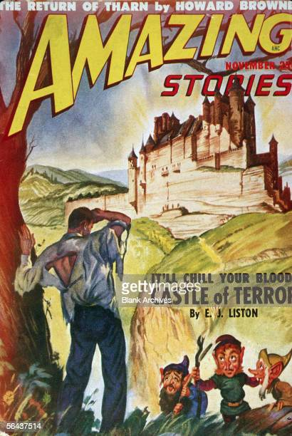 The cover of Amazing Stories magazine features an illustration of a man in a torn shirt confronted by a trio of leprechauns in the fields beyond a...