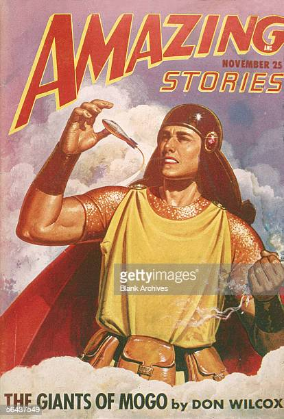 The cover of Amazing Stories magazine features an illustration of a giant in a futeristic gladiatorstyle outfit as he reaches for a comparitively...
