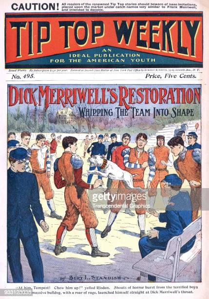 The cover of an issue of the Tip Top Weekly features a story entitled 'Dick Merriwell's Restoration or Whipping the Team Into Shape' It is...