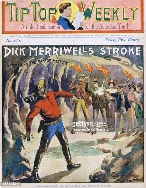 The cover of an issue of the Tip Top Weekly features a story entitled 'Dick Merriwell's Stroke or Unmasking the Man of Mystery' It is accompanied by...