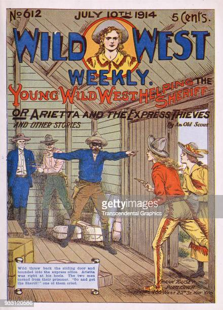 The cover of an issue of the Wild West Weekly dime novel features a story entitled 'Young Wild West Helping the Sheriff or Arietta and the Express...