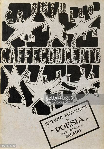 The cover of CafeConcert Unexpected Alphabet a collection of visual poems by Francesco Cangiullo Futurist poetry editions Milan Italy 20th century...