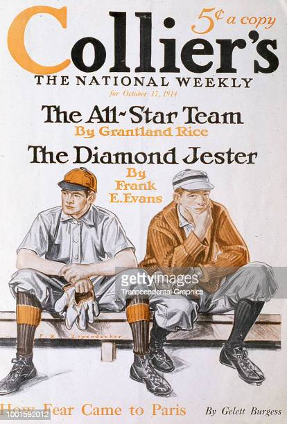 The cover of Collier's magazine features several baseball themed headlines accompanied by an illustration of two players as they sit on the bench New...