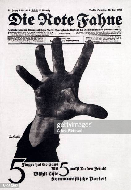 The cover of 'Die Rote Fahne' the newspaper of the Communist Party of Germany designed by by German photomontage artist John Heartfield and published...