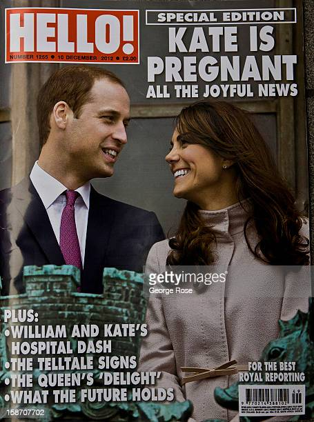 The cover of Hello Magazine features the Kate Middleton and Prince William pregnancy on December 6 in London England Central London captures the...
