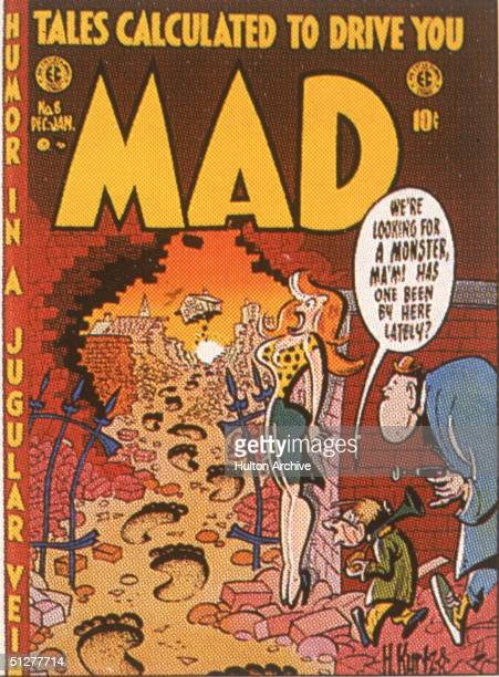 The cover of issue of Mad magazine shows a cartoon by Harvey Kurtzman of two men as they follow oversized footprints through a hole in a brick wall...