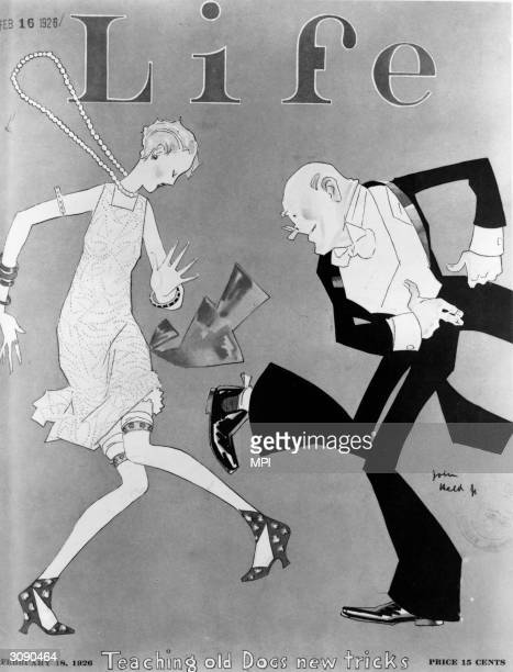 The cover of Life Magazine showing a flapper dancing with an older man Published 18th February 1926