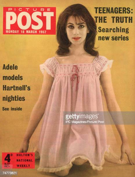 The cover of Picture Post magazine featuring a Adele Collins modelling a baby doll nightdress by English fashion designer Norman Hartnell 18th March...