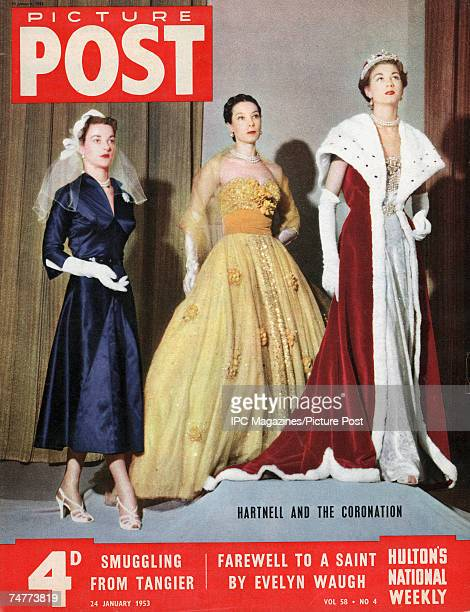 The cover of Picture Post magazine featuring a shot of coronation fashions by English designer Norman Hartnell 24th January 1953