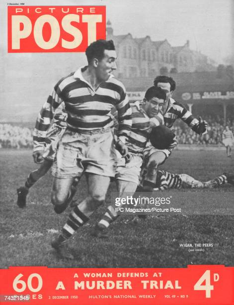 The cover of Picture Post magazine featuring a shot of Wigan Rugby League Football Club players in action 2nd December 1950