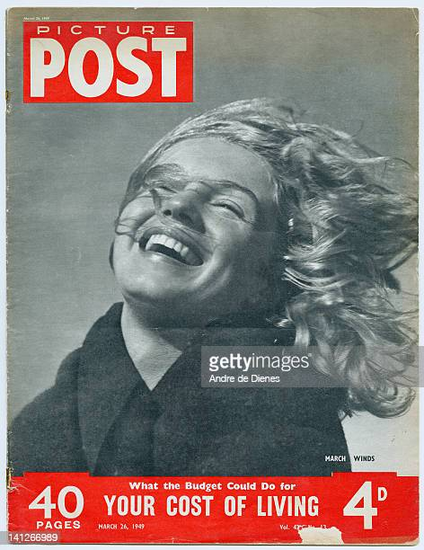 The cover of Picture Post magazine featuring a young woman with the wind in her hair March 1949 The picture is entitled 'March Winds' The headline...