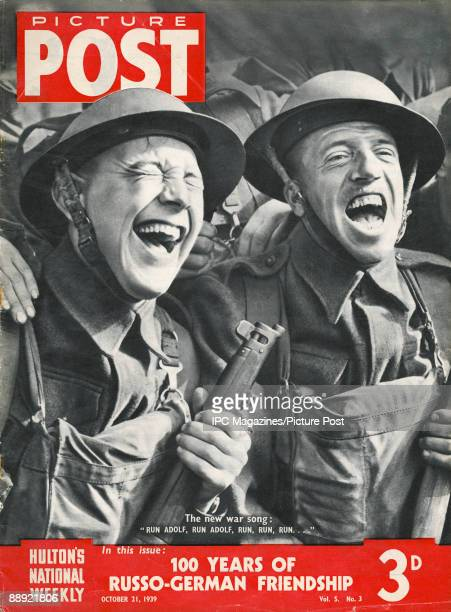 The cover of Picture Post magazine showing two British soldiers laughing October 1939 The caption reads 'The new war song 'Run Adolf run Adolf run...