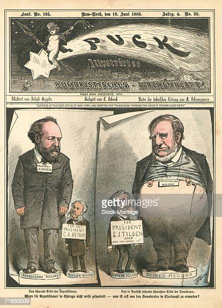 The cover of Puck magazine features a editorial cartoon that compares the Republican party candidates in the 1880 US Presidential election with those...