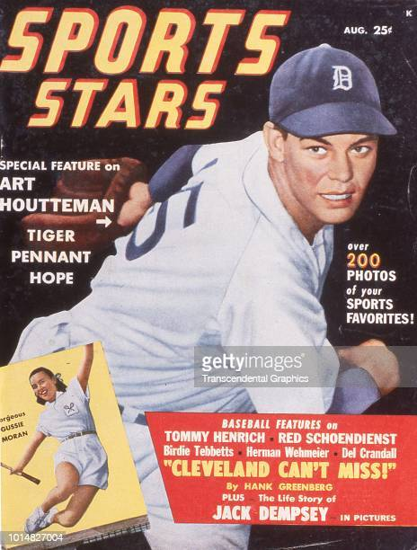 The cover of Sports Stars magazine features pictures of American baseball player Art Houtteman pitcher for the Cleveland Indians and tennis player...