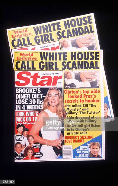 The cover of Star magazine reveals a scandal involving President Bill Clinton's top aide Dick Morris and call girl Sherry Rowlands August 31 1996 in...