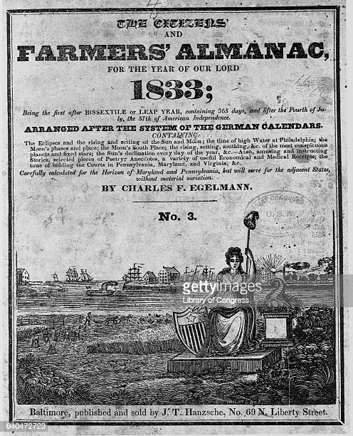 The cover of the 1833 Farmers' Almanac published in Baltimore