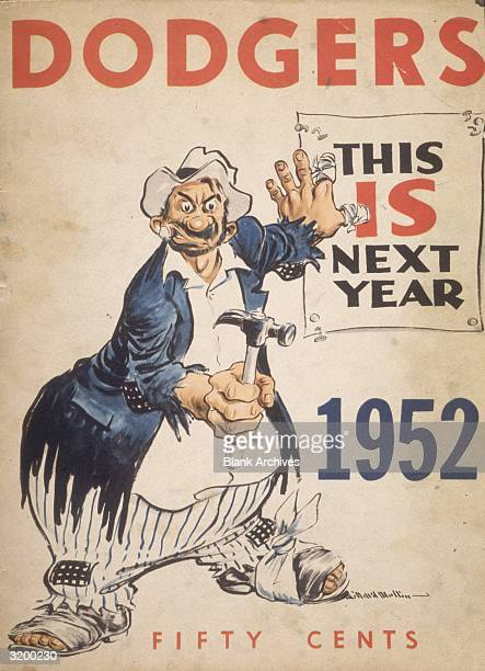 The cover of the 1952 Brooklyn Dodgers yearbook featuring a cartoon illustration of a hobo nailing a poster to a wall