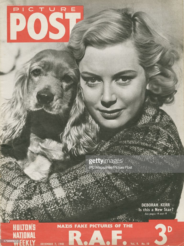 The cover of the 7th December 1940 edition of Picture Post magazine, featuring a portrait of ninteeen year-old Scottish actress Deborah Kerr (1921 - 2007) holding her pet dog. The magazine contains a feature entitled 'Is This A New Star?', following Kerr as she works on director John Baxter's drama 'Love On The Dole' at Elstree Studios, Hertfordshire.