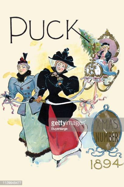 The cover of the Christmas issue of Puck magazine features an illustration of two women as they ice skats and tow a sleigh in which Puck rides with a...