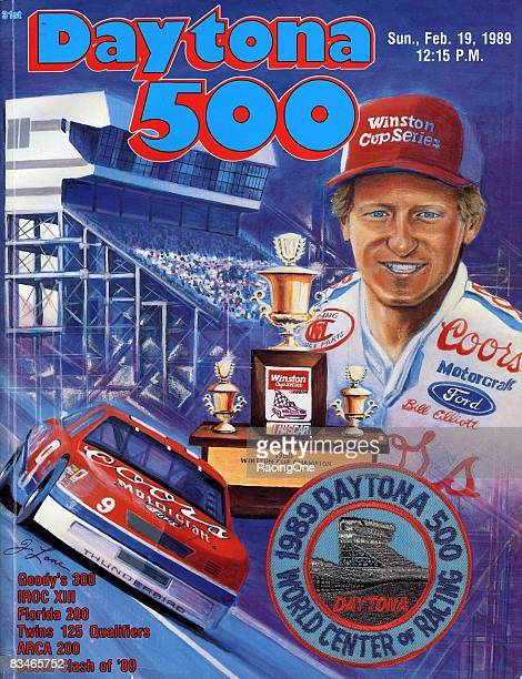 The cover of the Daytona 500 program shows Bill Elliott and his Coors car after winning the 1988 Pepsi 400 at Daytona on February 19 1989 in Daytona...