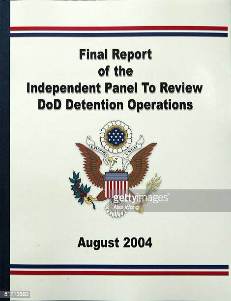 The cover of the final report by the Independent Panel To Review DoD Detention Operations is seen after its release to the media during a news...